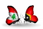Two Butterflies With Flags On Wings As Symbol Of Relations Lebanon And East Timor