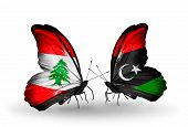 Two Butterflies With Flags On Wings As Symbol Of Relations Lebanon And Libya