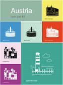 Landmarks of Austria. Set of color icons in Metro style. Raster illustration.
