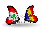 Two Butterflies With Flags On Wings As Symbol Of Relations Lebanon And Moldova