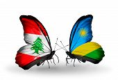 Two Butterflies With Flags On Wings As Symbol Of Relations Lebanon And Rwanda