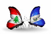Two Butterflies With Flags On Wings As Symbol Of Relations Lebanon And Salvador