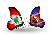 Two Butterflies With Flags On Wings As Symbol Of Relations Lebanon And Swaziland