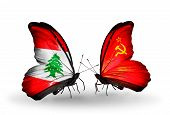 Two Butterflies With Flags On Wings As Symbol Of Relations Lebanon And Soviet Union