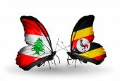 Two Butterflies With Flags On Wings As Symbol Of Relations Lebanon And Uganda