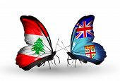 Two Butterflies With Flags On Wings As Symbol Of Relations Lebanon And Fiji