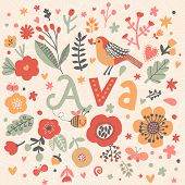 Bright card with beautiful name Ava in poppy flowers, bees and butterflies. Awesome female name design in bright colors. Tremendous vector background for fabulous designs