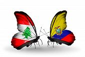 Two Butterflies With Flags On Wings As Symbol Of Relations Lebanon And Ecuador