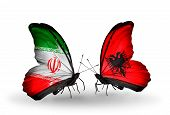 Two Butterflies With Flags On Wings As Symbol Of Relations Iran And Albania