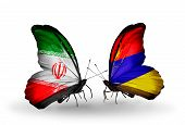 Two Butterflies With Flags On Wings As Symbol Of Relations Iran And Armenia