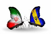 Two Butterflies With Flags On Wings As Symbol Of Relations Iran And Barbados