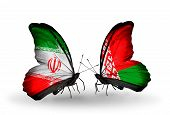Two Butterflies With Flags On Wings As Symbol Of Relations Iran And Belarus