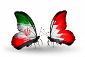 Two Butterflies With Flags On Wings As Symbol Of Relations Iran And Bahrain