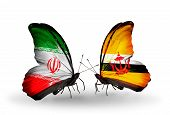 Two Butterflies With Flags On Wings As Symbol Of Relations Iran And Brunei