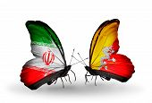 Two Butterflies With Flags On Wings As Symbol Of Relations Iran And Bhutan