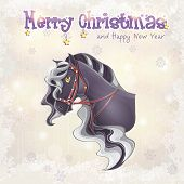 Card for Christmas and the new year with a picture of a horse