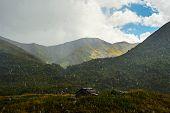 Rain in the Caucasus mountains