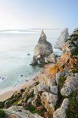 Beautiful beach with rocks in Portugal, Sintra, Cabo da Roca, Praia da Ursa
