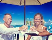 Couple Celebration Beach Summer Toast Champagne Concept
