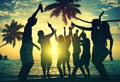 foto of beach party  - People Enjoying Party by the Beach - JPG