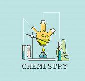 Chemistry  line flat vector illustration on blue background