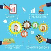 Business process flat design illustration blue background