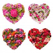 Set of Isolated Summers flowers heart floral collage concept