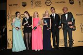 LOS ANGELES - JAN 25: Andrea Riseborough, Emma Stone, Amy Ryan, Naomi Watts, Edward Norton, Michael Keaton at the 2015 SAG Awards at the Shrine Auditorium on January 25, 2015 in Los Angeles, CA