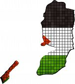 Map with Palestinian flag inside