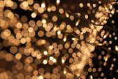 Natural bokeh. Photo of holidays lights blurred, small DOF