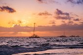 Sunrise And Yachts. Coastal Landscape Of Atlantic Ocean