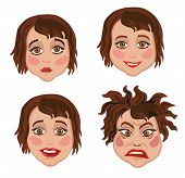 Set Of Four Facial Expressions Women