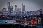image of london night  - City of London skyline from Greenwich at night - JPG