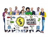 Multiethnic People Banner Safety Risk Business Insurance Concept