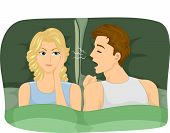 Illustration of a Woman Getting Irritated of Her Partner's Snoring