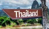 Thailand wooden sign with exotic background