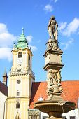Roland Fountain on Main square in Bratislava, Slovakia