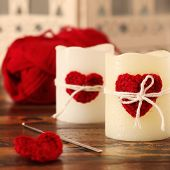 Handmade Crochet Red Heart On Candle With Skein For Saint Valentine's Day