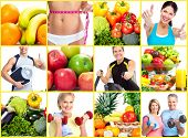 Fitness people. Weight loss and diet collage background.