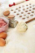 Cooking dumplings close-up