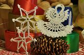 Christmas Decorations. Christmas. Christmas Eve. Christmas Ornaments With Satin Belt.