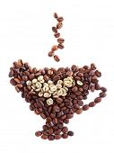 Cup shaped coffee beans isolated on white