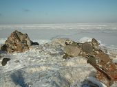 Winter On The Shores Of The Baltic Sea. Icy Pane. Kolka Peninsula. Latvia.