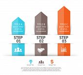 Vector arrows infographic. 3 steps to success.