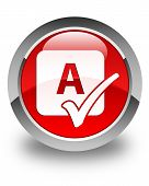 Spell Check Icon Glossy Red Round Button