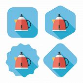 Kitchenware Tea Pot Flat Icon With Long Shadow,eps10