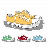 Set Of Low Sneakers Drawn In A Sketch Style.