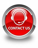 Contact us (Customer Care Icon) Glossy Red Round Button