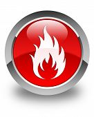Fire Icon Glossy Red Round Button