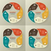 Circle retro old infographic, cycle diagram